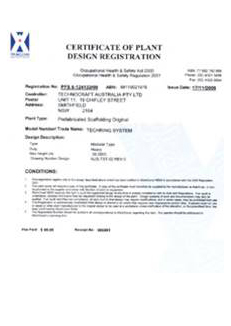Certificate of Plant Design Registration